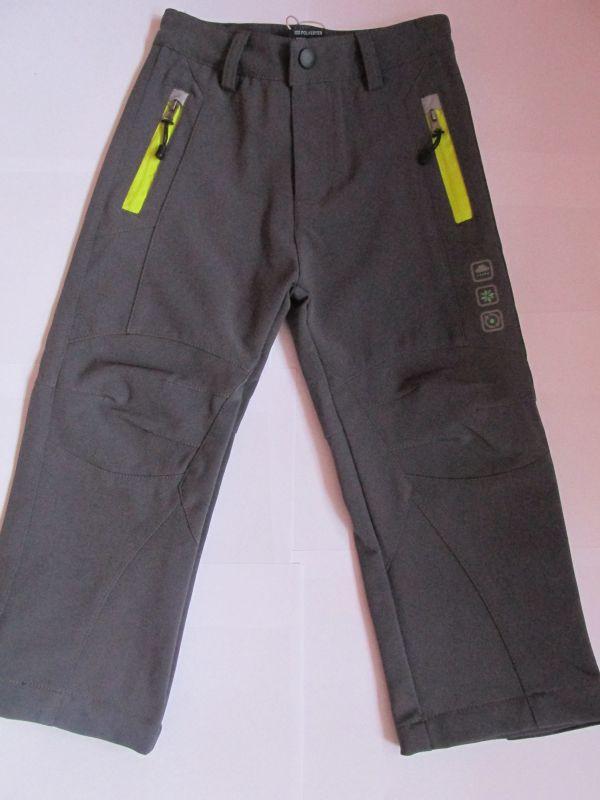 Softshellové kalhoty Kugo, šedé,žluto-zelený zip