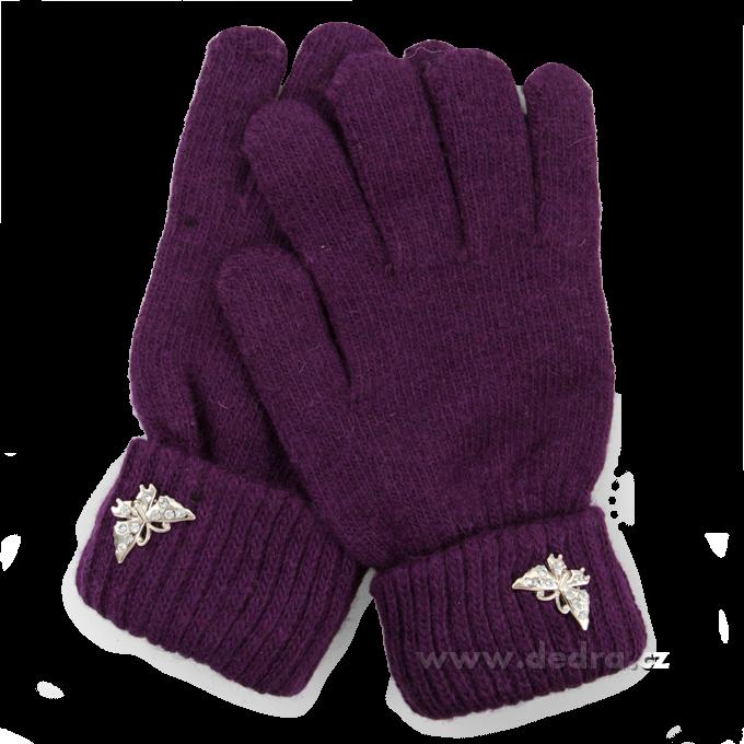 Dámské prstové rukavice fialové Dedra