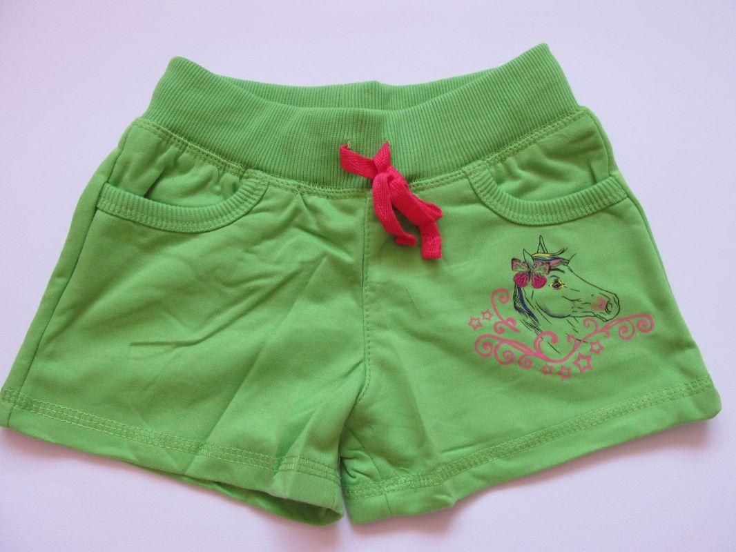 Dívčí kraťasy/šortky Kugo zelené, vel. 98-122