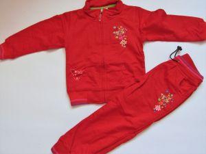 Dívčí tepláková souprava KUGO (motýl) červená vel. 104-116