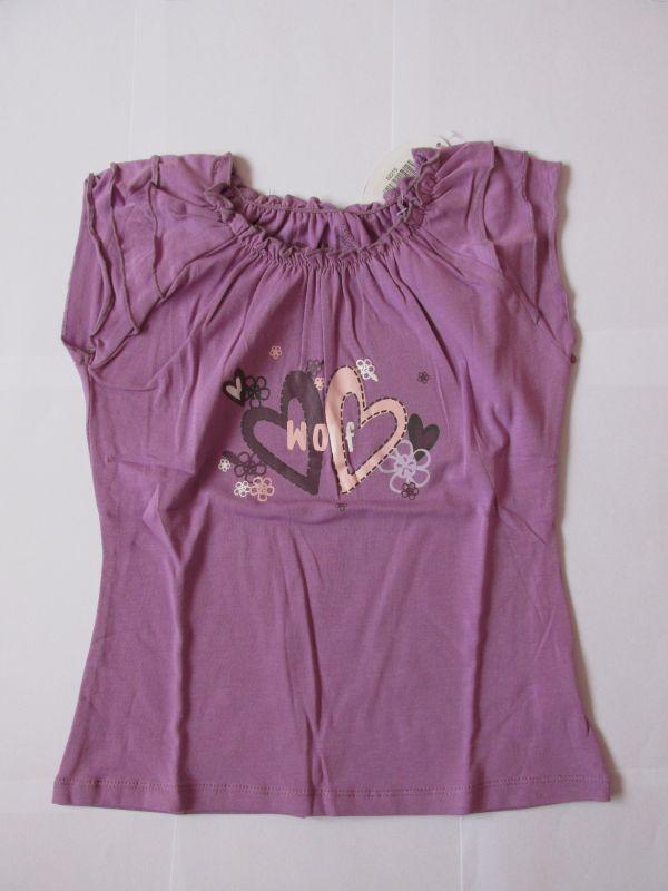 Dívčí tričko se zdobenými rukávky, vel. 104 Wolf
