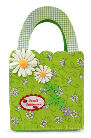 Textilní taška na velikonoční koledu - kytičky Dedra