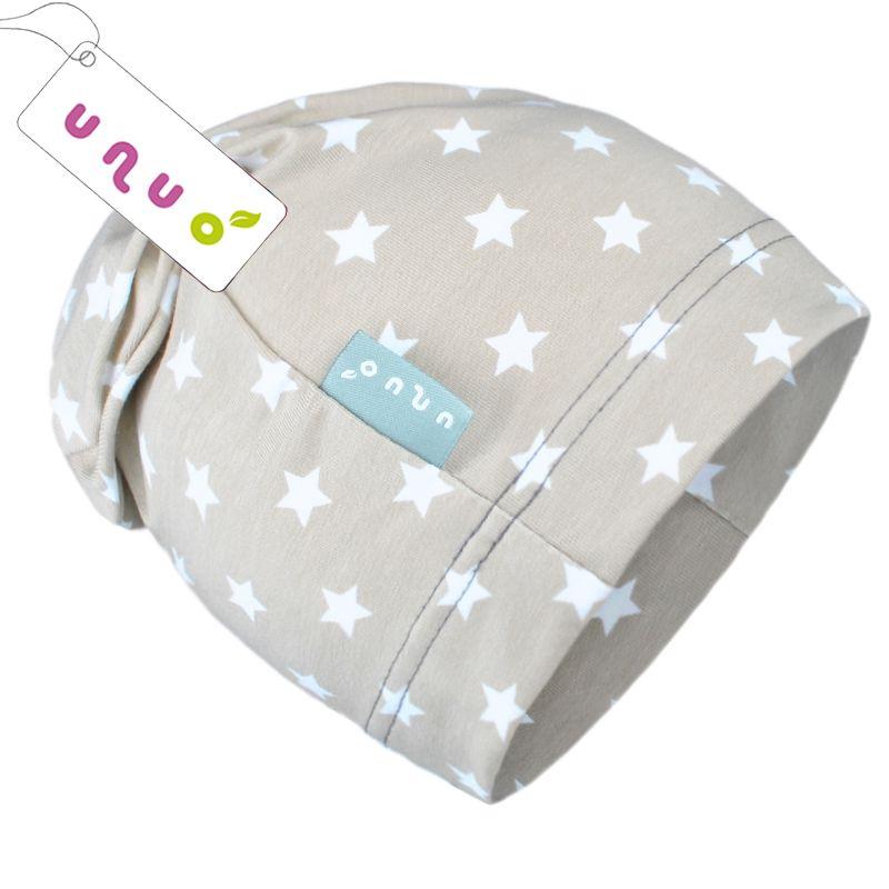 Dětská úpletová čepice Unuo béžová s hvězdičkami