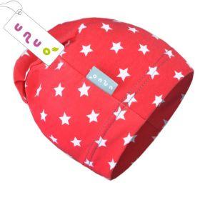 Dětská úpletová čepice Unuo červená s hvězdičkami