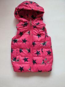 Dívčí zateplená vesta hvězdy růžová vel. 86-92