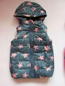 Dívčí zateplená vesta hvězdy šedá vel. 92-104