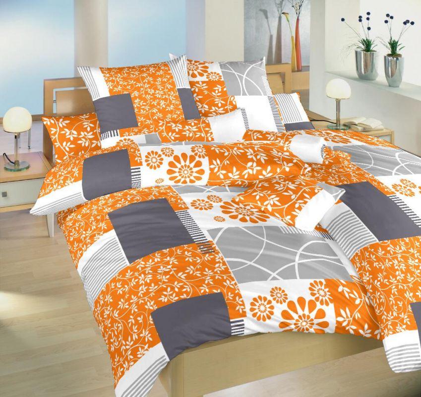 Povlečení satén Dadka Vracov - Bluemoon oranžový140x200 90x70