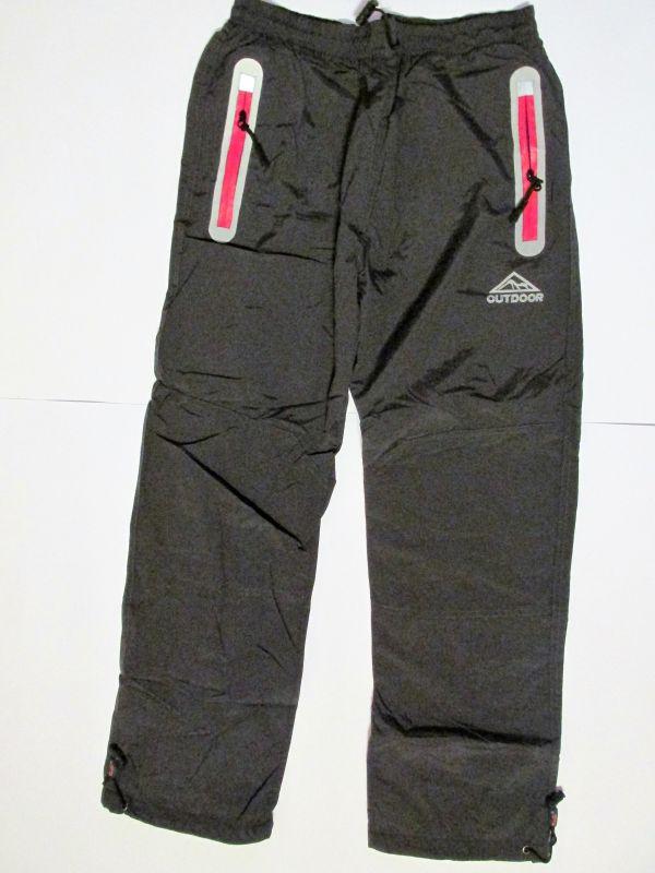 Šusťákové kalhoty Kugo podšité tm.šedé,růžový zip vel. 146