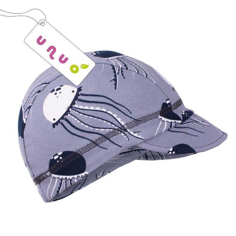 Dětská bavlněná čepice Unuo s kšiltem Medůzky na šedé