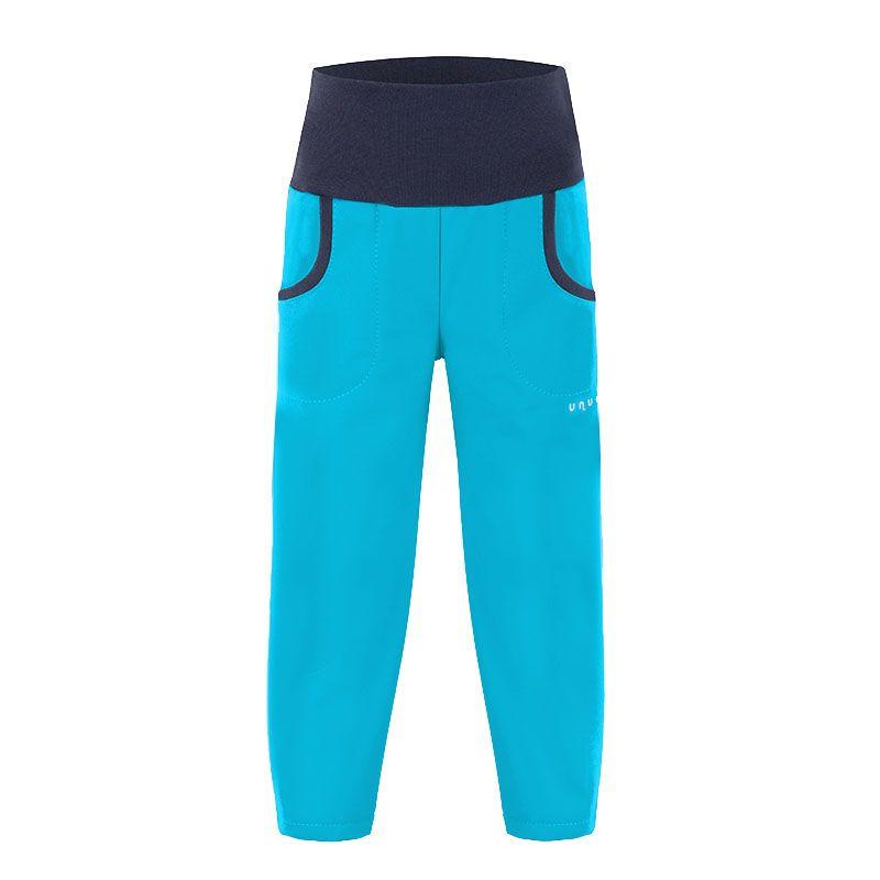 Dětské letní softshellové kalhoty Unuo tyrkysové