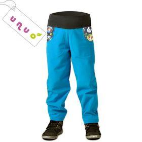 Dětské softshellové kalhoty zateplené Unuo BASIC tyrkysové kočka pes