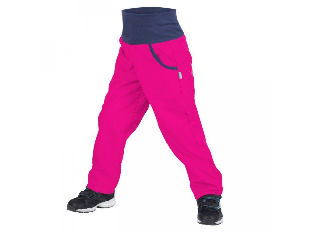 Dětské softshellové kalhoty zateplené Unuo New fuchsiové 98/104-110/116