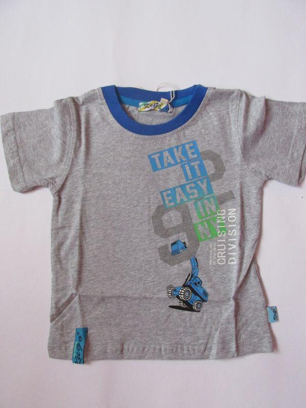 Chlapecké tričko bagr - šedé KUGO