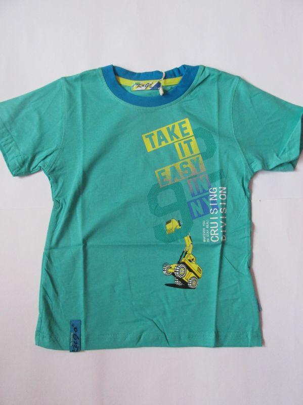 Chlapecké tričko bagr - zelené KUGO