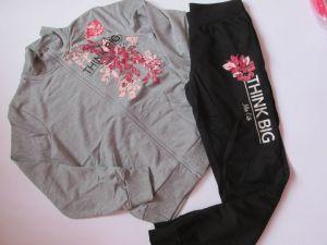 Dívčí tepláková souprava KUGO Květiny - šedo-černá
