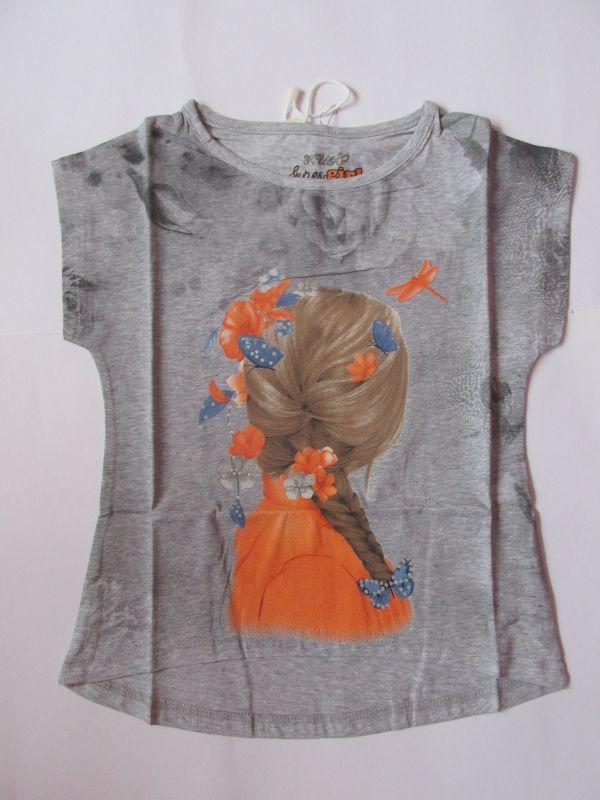 Dívčí tričko holka - šedé KUGO