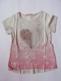 Dívčí tričko s flitry šedo-růžové