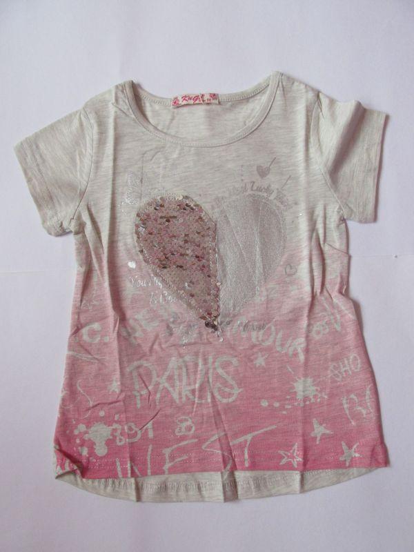 Dívčí tričko s flitry šedo-růžové KUGO