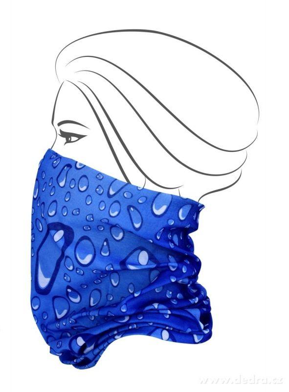 Multifunkční šátek nejen na sport - modrý s bublinkami Dedra
