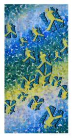 Multifunkční šátek nejen na sport - tyrkysovo-žlutý s motivem