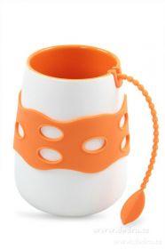 Porcelánový hrnek se sítkem na čaj oranžový Dedra