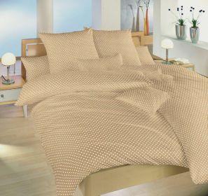 Povlečení bavlna Dadka Vracov - Puntík bílý na béžovém 140x200  90x70