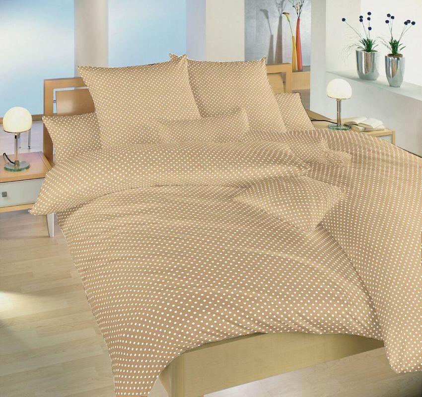 Povlečení bavlna Dadka Vracov - Puntík béžový 140x200 90x70