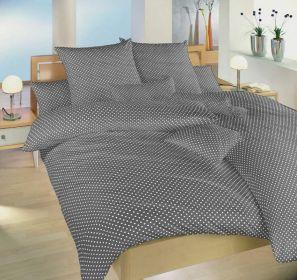 Povlečení bavlna Dadka Vracov - Puntík bílý na šedém 140x200  90x70