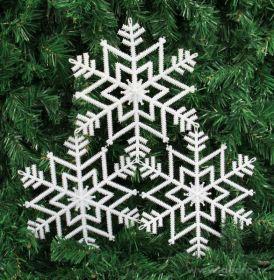 Vánoční ozdoba - 3ks sněhově bílé vločky