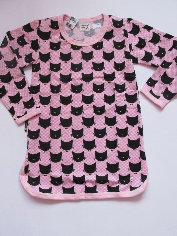 Dívčí noční košile dlouhý rukáv kočka růžová, vel. 116 Smaragd