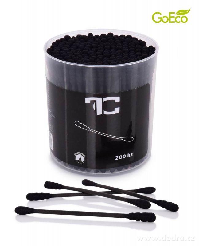 Černé ekologické uchošťoury 200ks z recyklovaného tvrdého kartonu a 100% bavlny Dedra