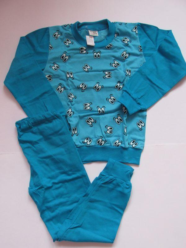 Chlapecké pyžamo Oči tyrkys dlouhý rukáv, vel.116 Smaragd