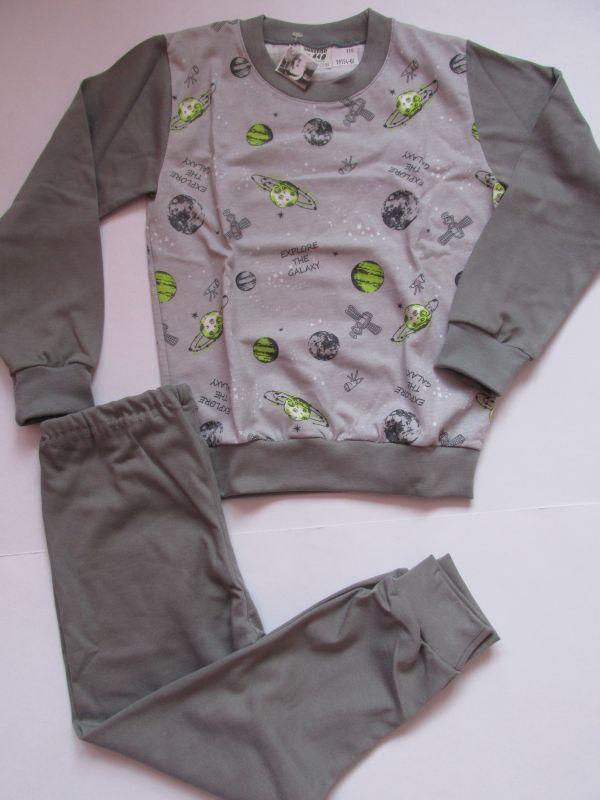 Chlapecké pyžamo Vesmír dlouhý rukáv, vel.110-122 Smaragd