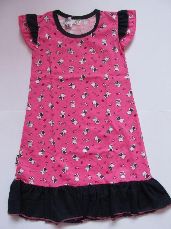 Dívčí noční košile krátký rukáv Kočičky, vel. 122 Smaragd