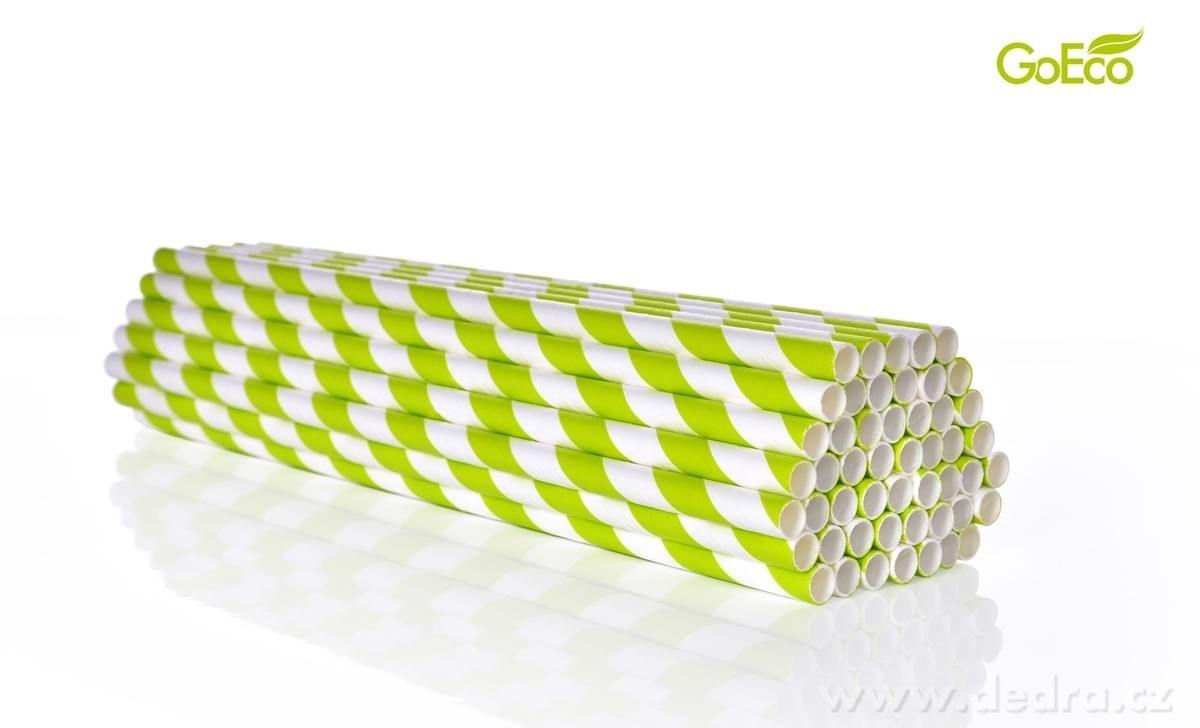 Eko-slámky papírové, kompostovatelné 50ks zelené Dedra