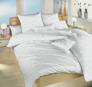 Povlečení bavlna Dadka Vracov - Hvězdička šedá na bílém 140x200  90x70