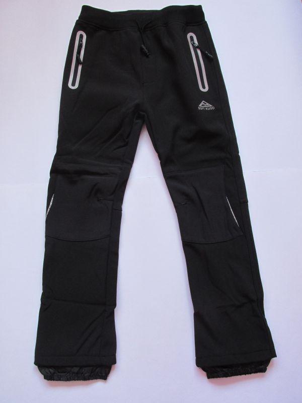 Softshellové kalhoty zateplené Kugo černé (černé zipy)