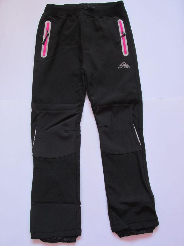 Softshellové kalhoty zateplené Kugo černé (růžové zipy)