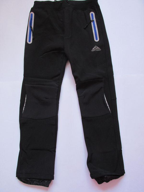Softshellové kalhoty zateplené Kugo černé (tmavě modré zipy)