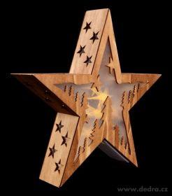 Vánoční dekorace - svítící hvězda dřevěná 28cm