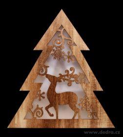 Vánoční dekorace - svítící stromek dřevěný 32cm