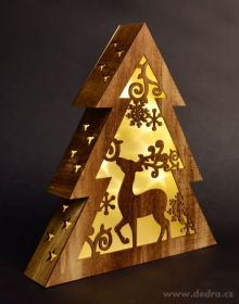 Vánoční dekorace - svítící stromek dřevěný 32cm Dedra