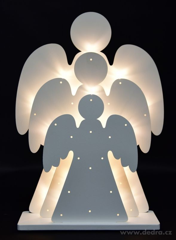 Vánoční dekorace - tři svítící andělé Dedra