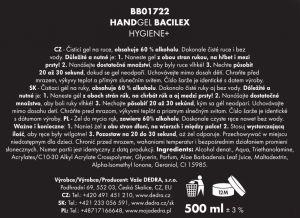 Čisticí gel na ruce BACILEX s vysokým obsahem alkoholu 500ml Dedra