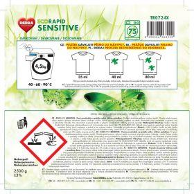 Dedra prášek na bílé prádlo ECORAPID SENSITIVE + dóza ZDARMA, 75 praní
