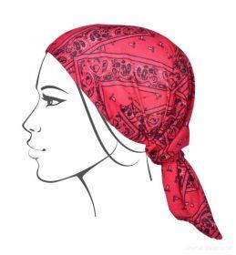 Multifunkční šátek nejen na sport - červený s ornamenty Dedra