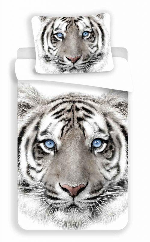 Povlečení bavlna fototisk - Tygr bílý 140x200 90x70 Jerry Fabrics