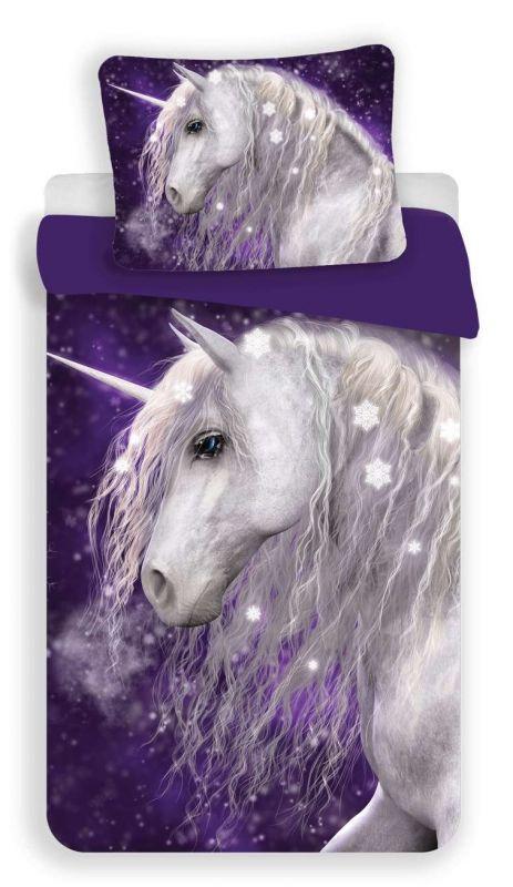 Povlečení bavlna fototisk - Unicorn purple 140x200 90x70 Jerry Fabrics