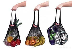 Síťovka stylová nákupní taška černá Dedra