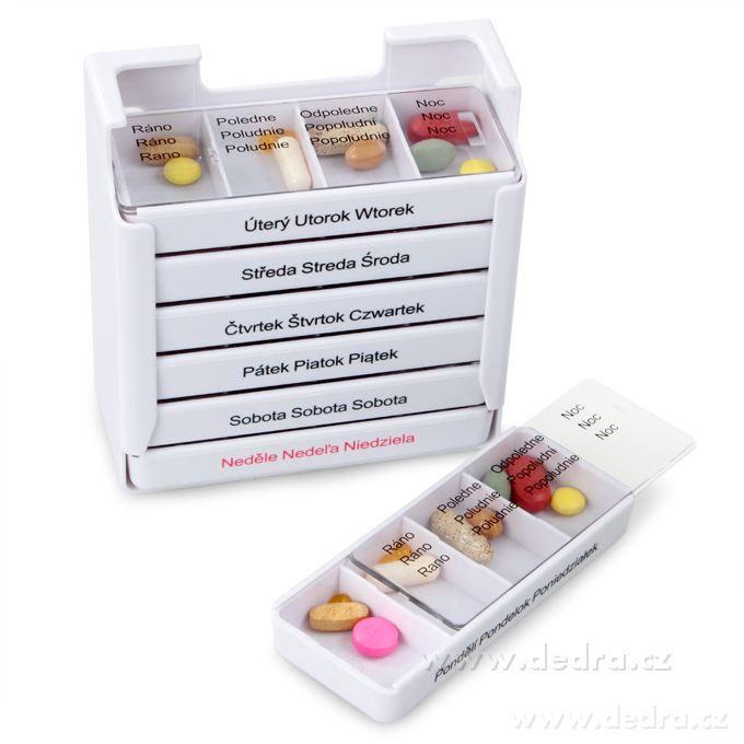 Týdenní zásobník na léky profesionální Dedra